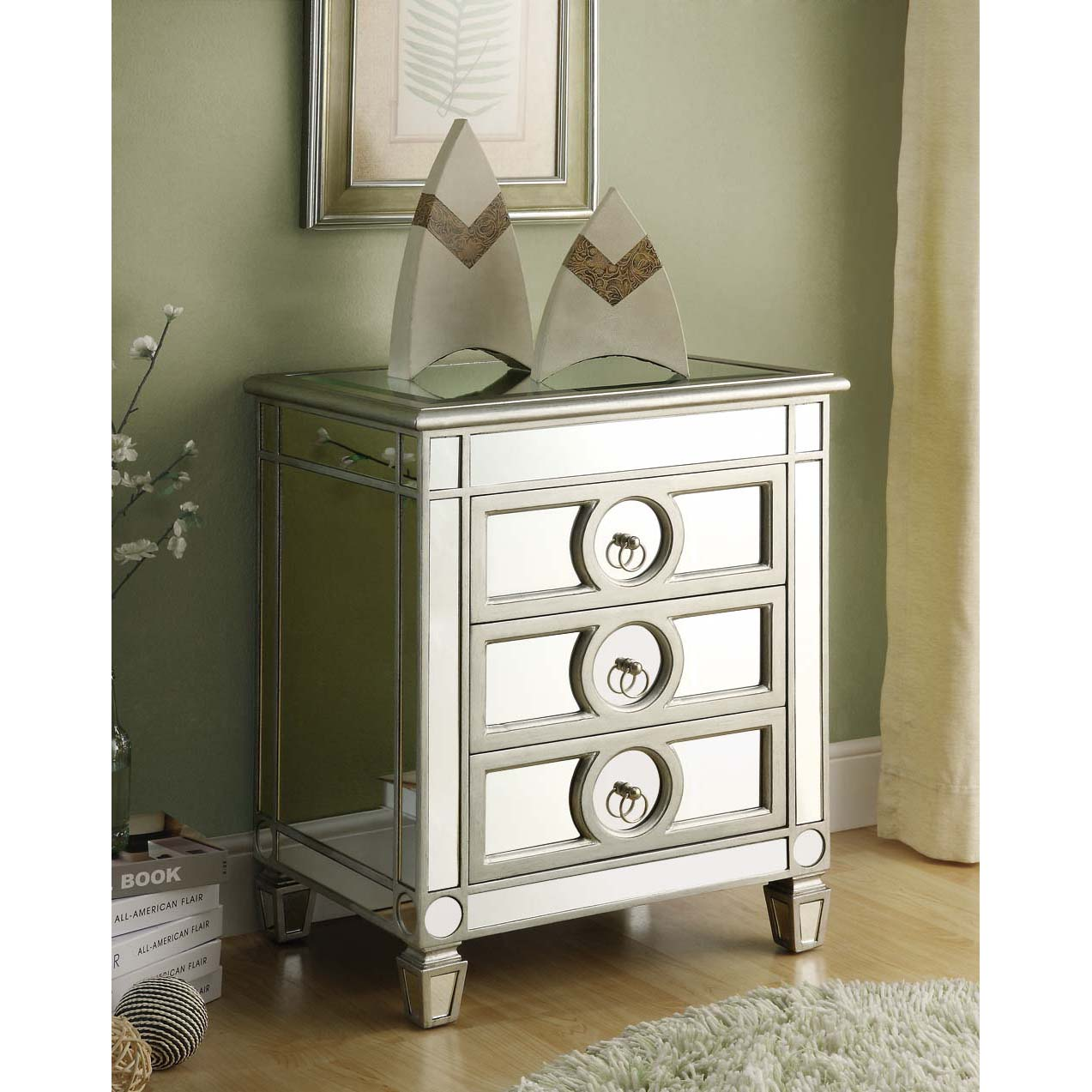 Mirrored 3-drawer Accent Table