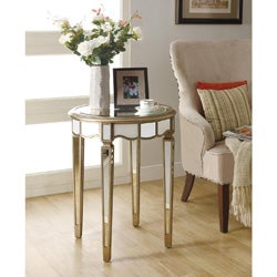 Mirrored 24-inch Dia Scalloped Accent Table