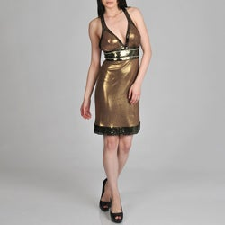 Janine of London Women's Tie Back Halter Sequin and Rhinestone Detail Cocktail Dress
