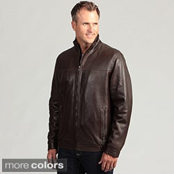 Izod Men's Lambskin Leather Stand Collar Jacket
