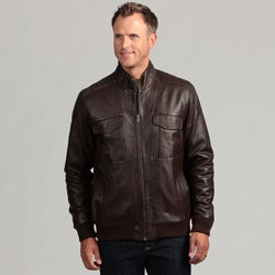Izod Men's Lambskin Leather Banded Bottom Jacket