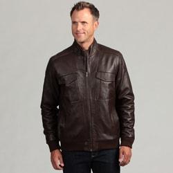 Izod Men's Lambskin Leather Banded Bottom Jacket