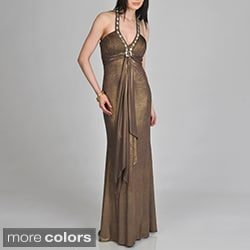 Janine of London Women's Halter Rhinestone Detail Long Dress