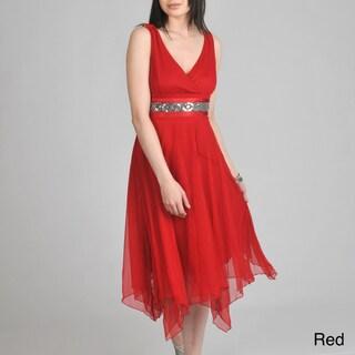 Janine of London Women's V-Neck with Applique Detail Empire-Waist Dress