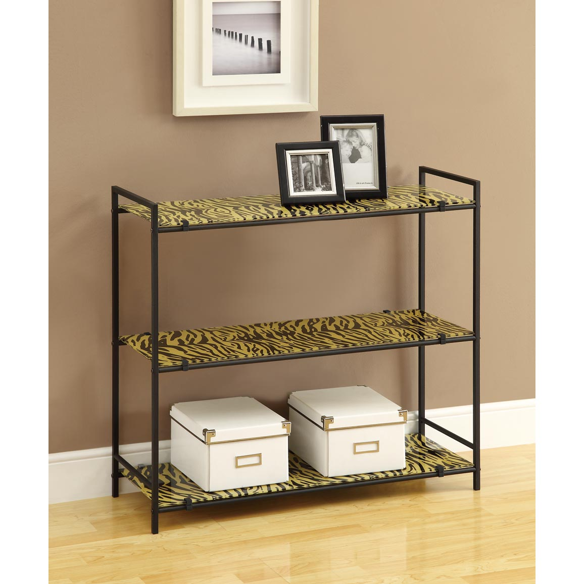 Black Metal 30-inch Etagere With Tiger Tempered Glass