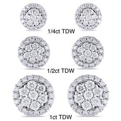 Miadora 10k White Gold 1/4ct to 1ct TDW Diamond Halo Earrings(G-H, I1-I2)