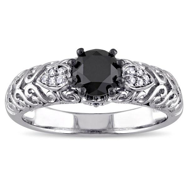 Miadora Sterling Silver 1ct TDW Black and White Diamond Ring (G-H, I1-I2)