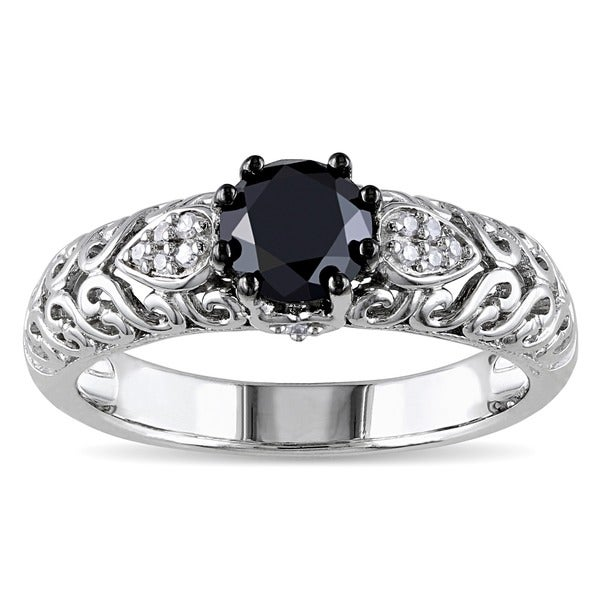 Miadora Sterling Silver 1ct TDW Black and White Diamond Ring (G-H, I1-I2)