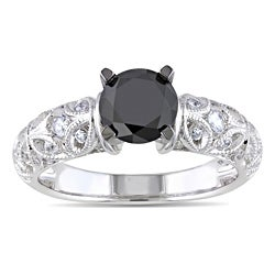 Miadora Sterling Silver 1ct TDW Black Diamond and Created White Sapphire Ring