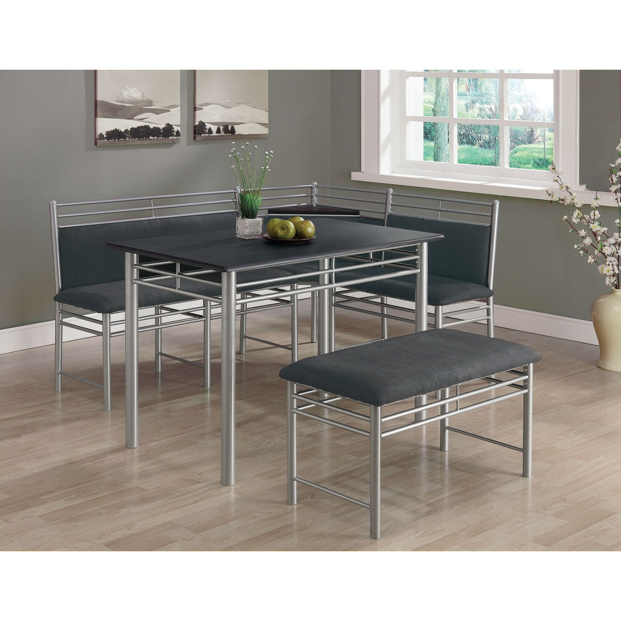 Black/ Silver Metal Corner 3-piece Dining Set