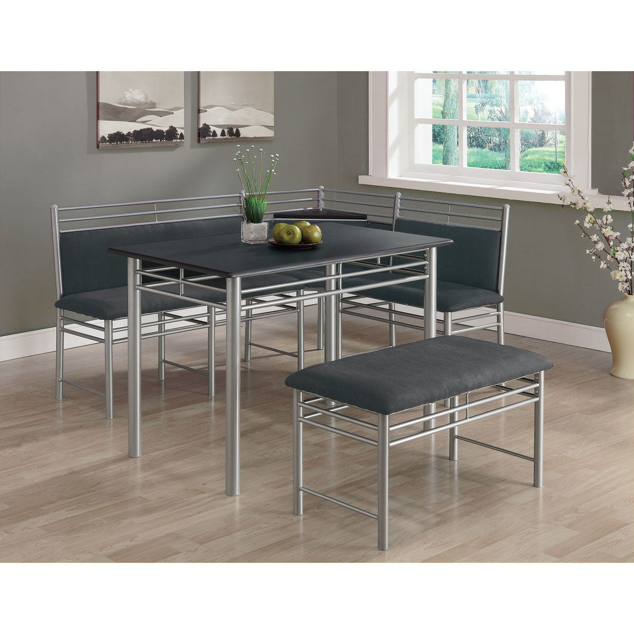black silver metal corner 3 piece dining set 14346200 overstock