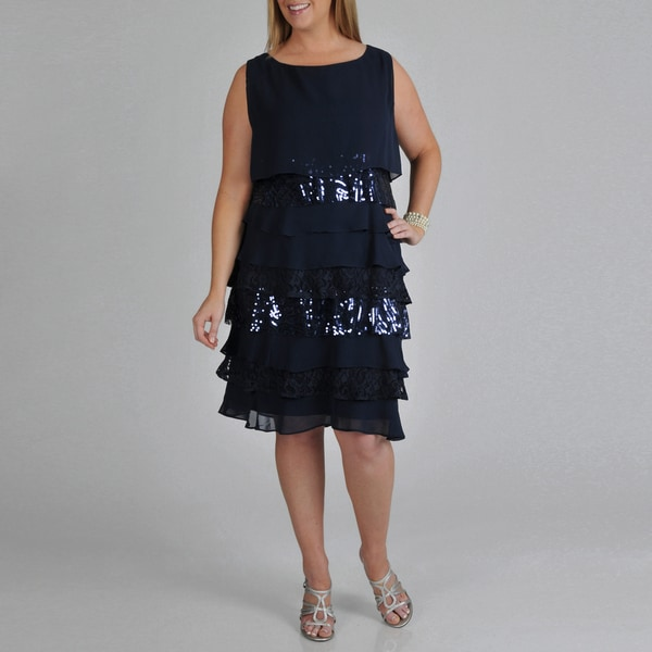 S.L. Fashions Women's Plus Navy Multi-texture Tiered Dress