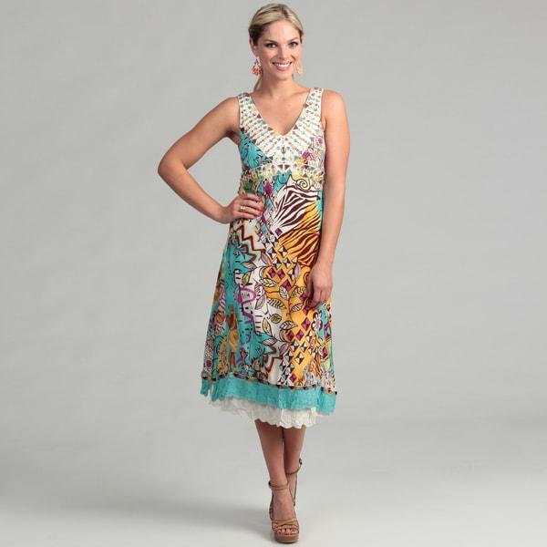 Ebene Women's Turquoise Abstract Silk Sleeveless Dress