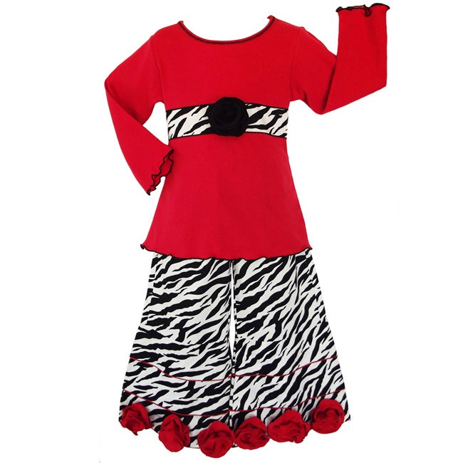 AnnLoren Girls' Red Roses/ Zebra 2-piece Outfit
