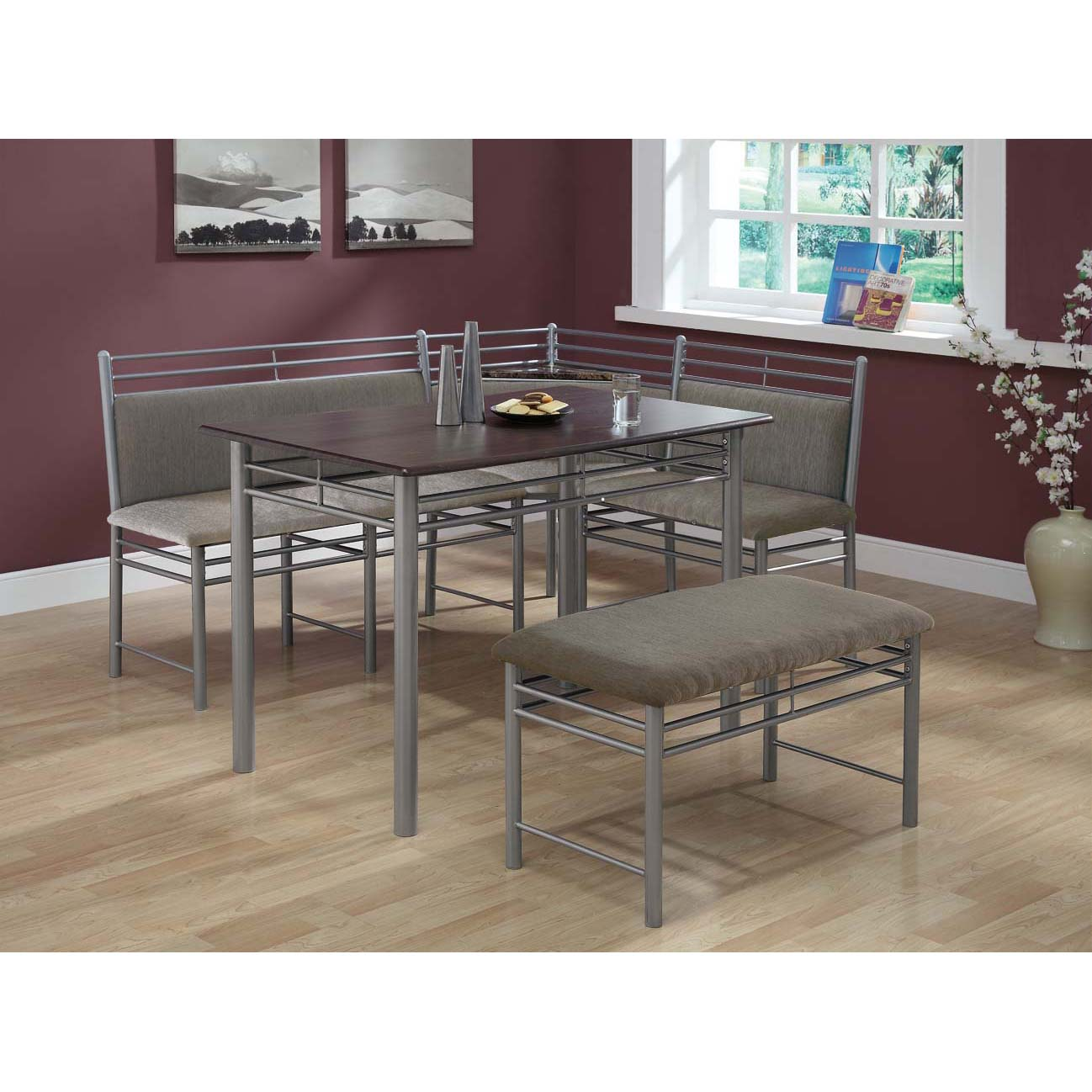 Cappuccino / Silver Metal Corner 3-piece Dining Set