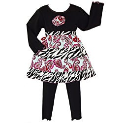 AnnLoren Girls' Precious Paisley/ Zebra 2-piece Outfit