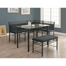 Grey Marble/ Charcoal Metal 3-piece Dining Set