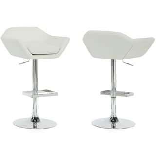 White/ Chrome Metal Hydraulic 2-piece Barstool