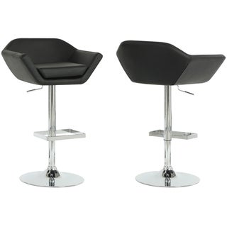 Black/ Chrome Metal Hydraulic Lift Barstools (Set of 2)