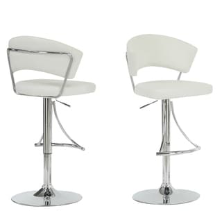 White/ Chrome Metal Hydraulic Lift Barstool