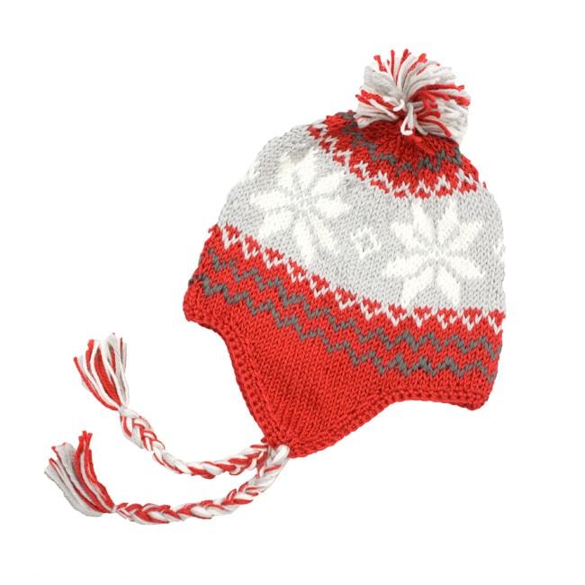 Hand-crochet Leisureland Red Snowflake Beanie Hat