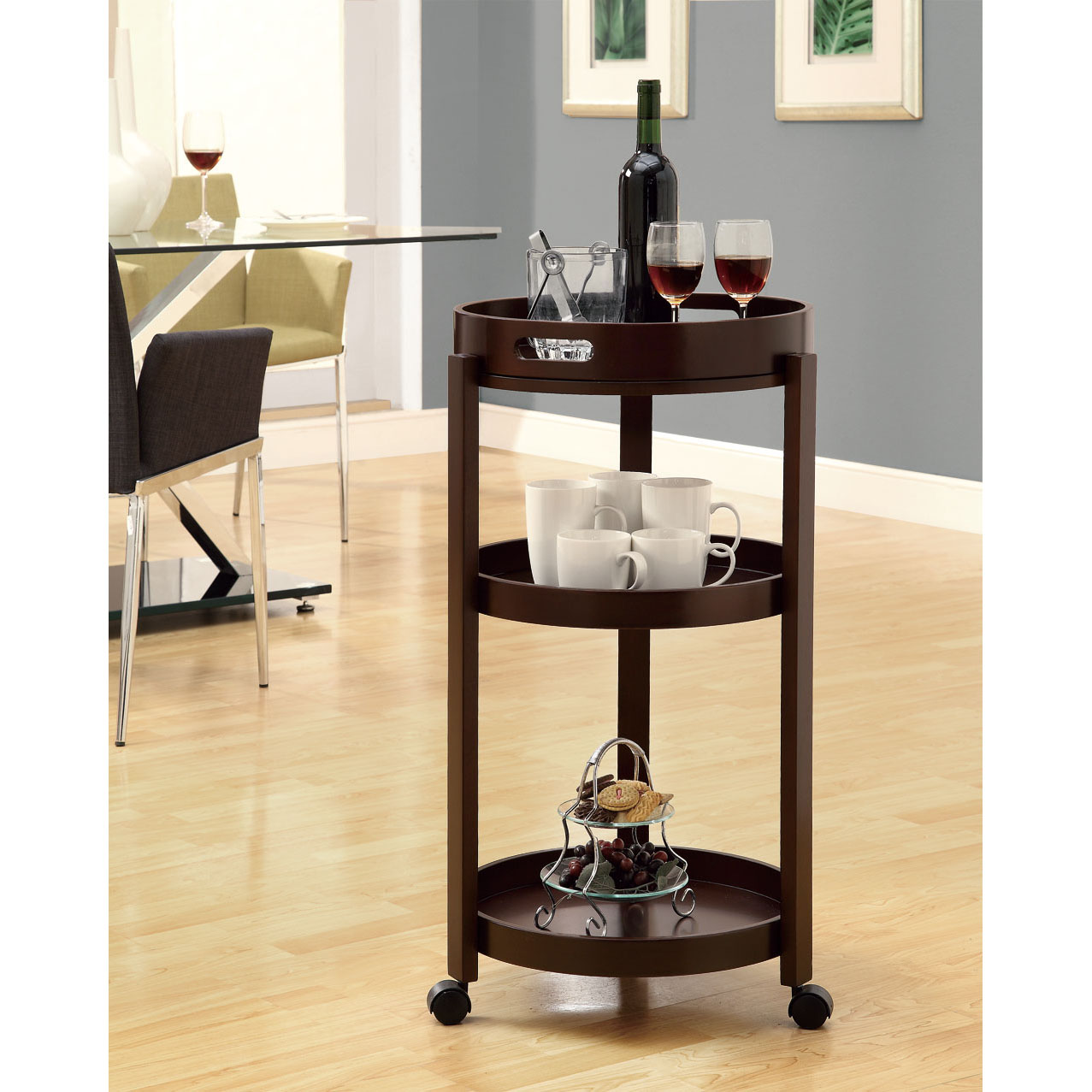 Cappuccino Bar Cart With Serving Tray