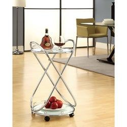 Chrome Metal Bar Cart With Frosted Tempered Glass