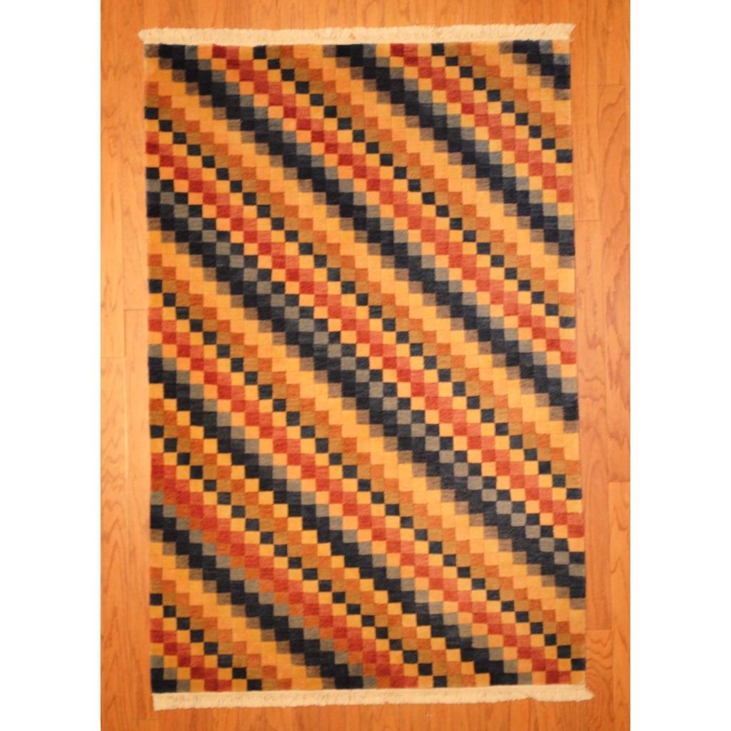 Herat Oriental Indo Hand-knotted Tibetan Red/ Blue Wool Rug (4' x 6'1)