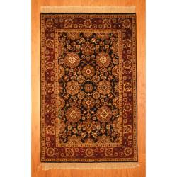 Indo Hand-knotted Mahal Black/ Burgundy Wool Rug (3'9 x 6')