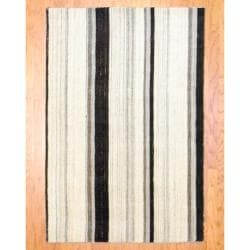 Herat Oriental Indo Hand-knotted Tibetan Ivory/ Charcoal Wool Rug (4'1 x 6')
