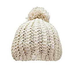 Leisureland Hand-crocheted Tan Acrylic Beanie Hat