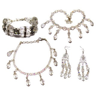Silverplated Clear AB Crystal Wedding Jewelry Set