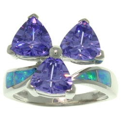 CGC Sterling Silver Created Opal and CZ Purple Chic Flower Ring
