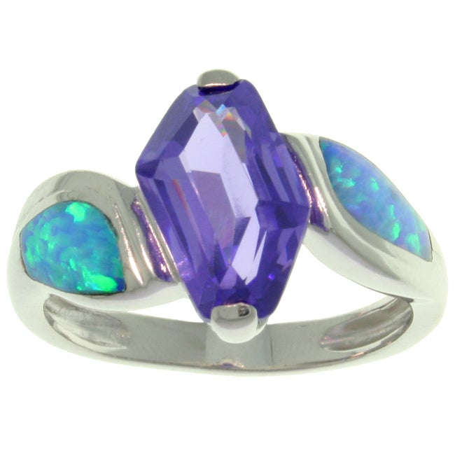 Carolina Glamour Collection Sterling Silver CZ and Created Blue Opal Freeform Dream Ring