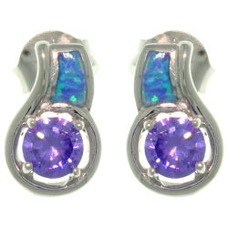 CGC Sterling Silver Created Opal CZ Stud Earrings