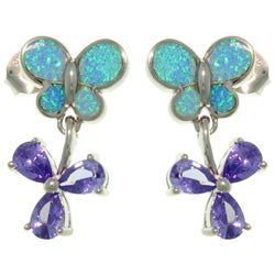 CGC Sterling Silver Created Opal Butterfly and Flower Earrings