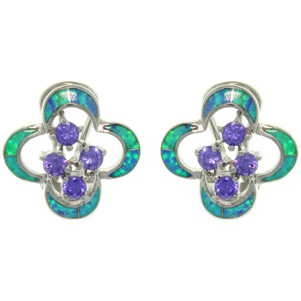 CGC Sterling Silver Created Opal and CZ Cluster Earrings