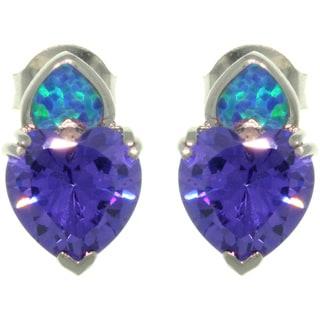 CGC Sterling Silver Created Opal Purple Heart CZ Stud Earrings