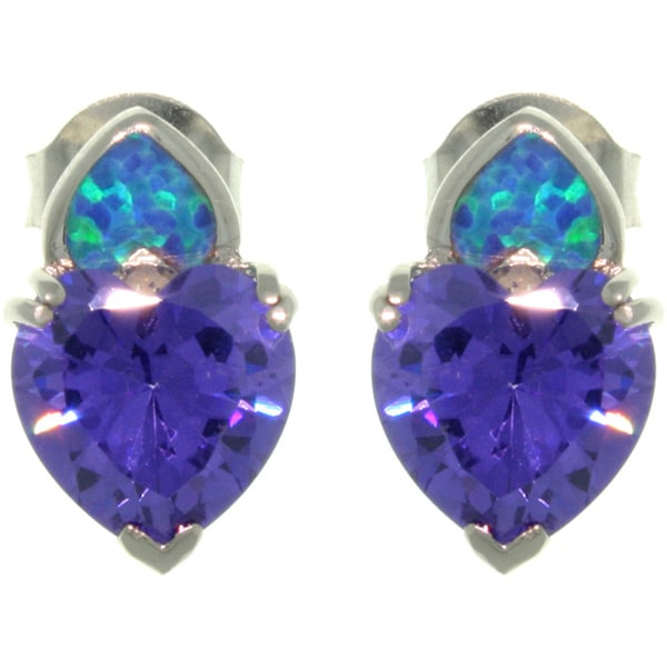 CGC Sterling Silver Created Opal Purple Heart CZ Stud Earrings