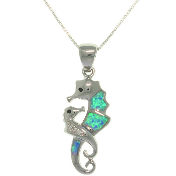 CGC Sterling Silver Created Blue Opal Seahorse with Baby Necklace