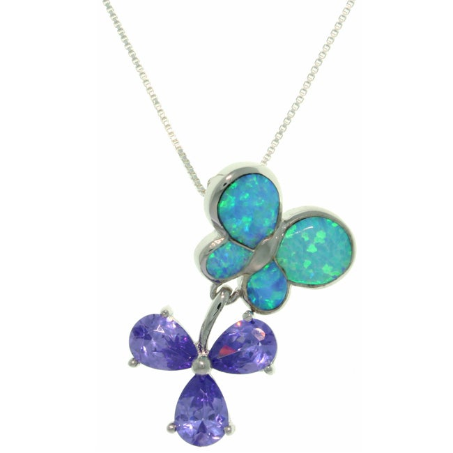 Carolina Glamour Collection Sterling Silver Created Opal Butterfly and Flower Necklace