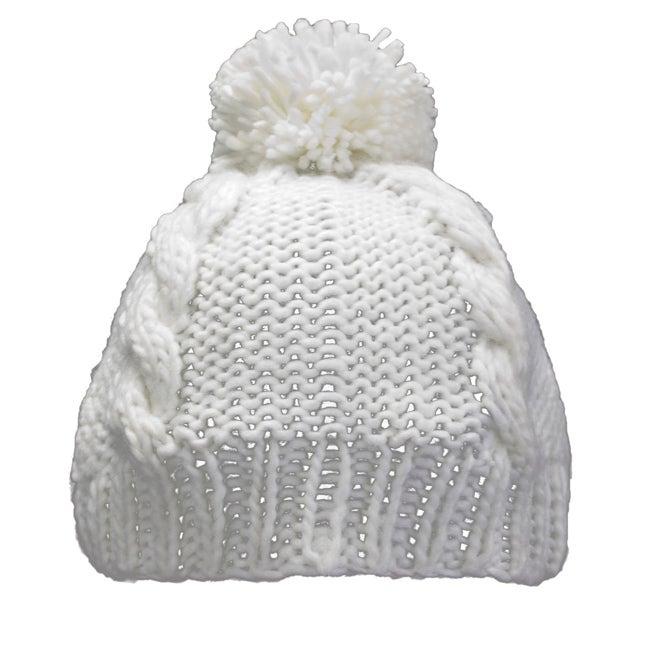 Leisureland Hand-crocheted White Acrylic Beanie Hat