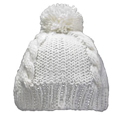 Leisureland Hand-crocheted White Acrylic Beanie Hat