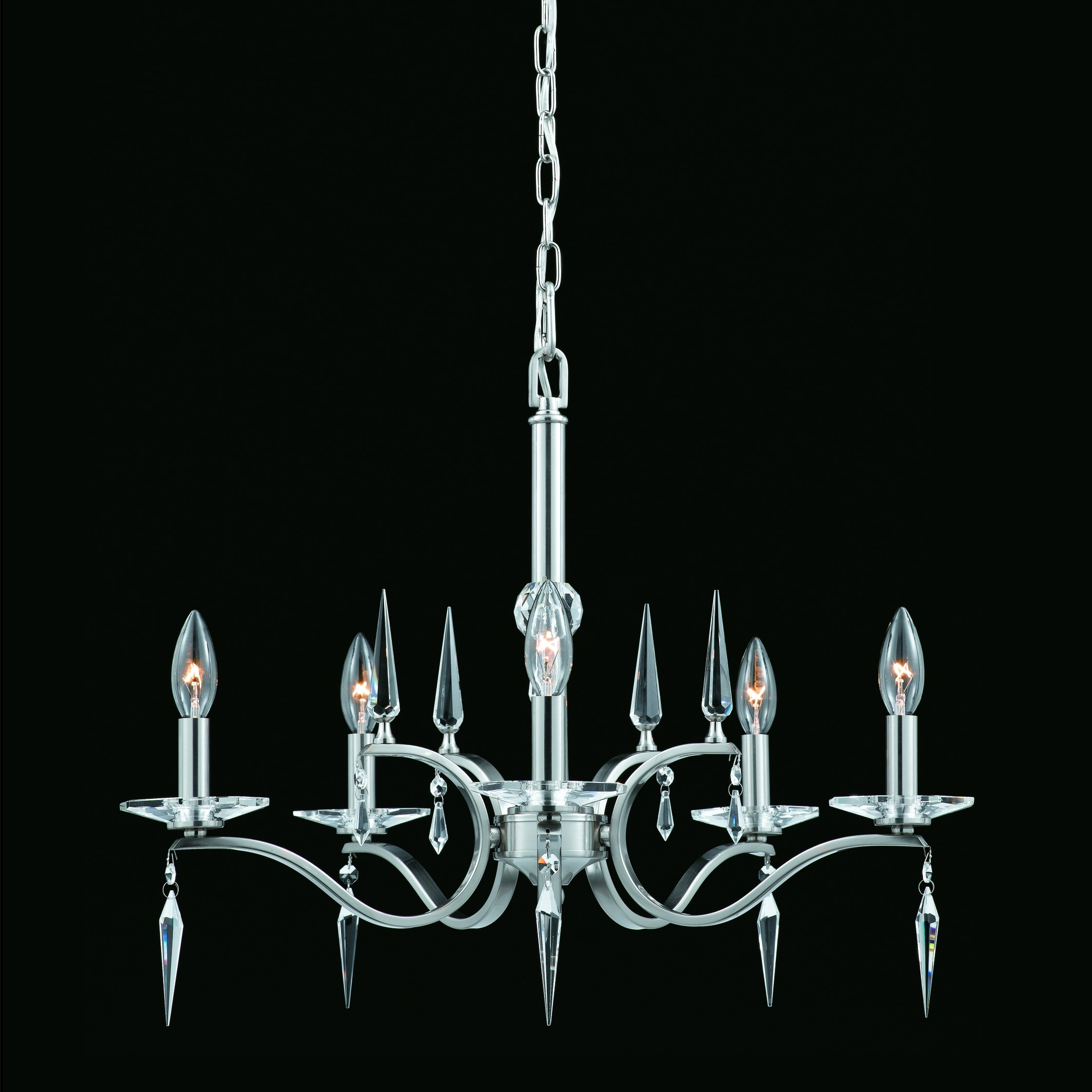 The Swan 5-light Chandelier in Satin Nickel Finish