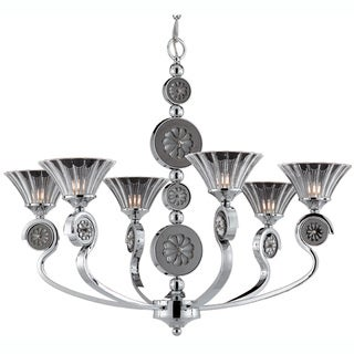 Medallion 6-light Chrome Chandelier With Clear Shades