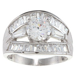 Alyssa Jewels 14k White Gold 2 1/2ct TGW Clear Cubic Zirconia Engagement-style Ring