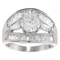 Alyssa Jewels 14k White Gold 2 1/2ct TGW Round/ Baguette Clear Cubic Zirconia Engagement-style Ring