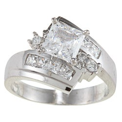 Alyssa Jewels 14k White Gold 2ct TGW Princess Clear Cubic Zirconia Engagement-style Ring