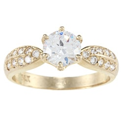 Alyssa Jewels 14k Yellow Gold 1 1/2ct TGW Clear Cubic Zirconia Engagement-style Ring