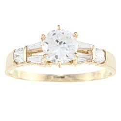 Alyssa Jewels 14k Yellow Gold 1ct TGW Clear Cubic Zirconia Engagement-style Ring